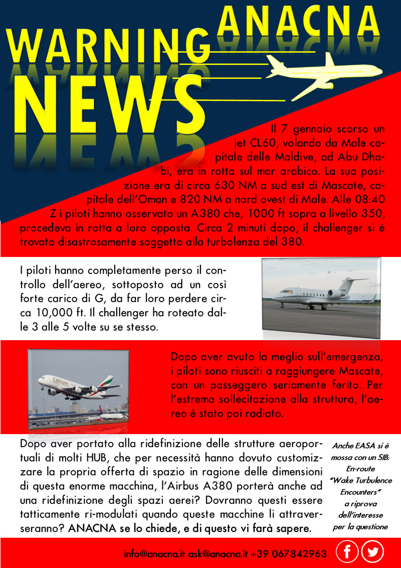 ANACNA - Warning News - A380 Wake Turbulence